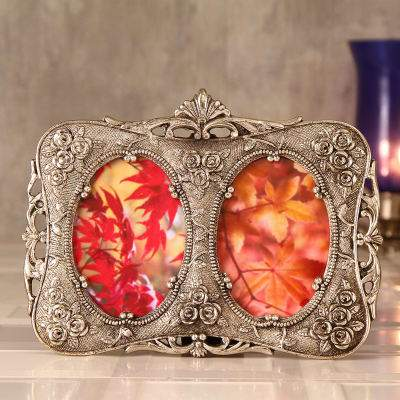 White Metal Double Photo Frame